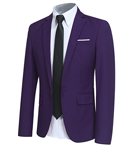 Herren Slim Fit Business Smokingjacke von Allthemen Violett