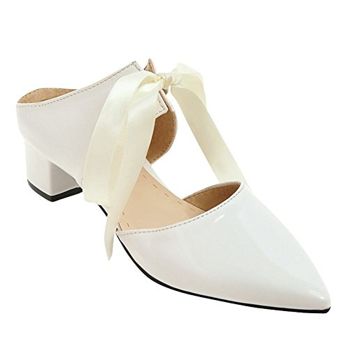 Mee Shoes Damen süß Slingback chunky heels Sandalen Weiß