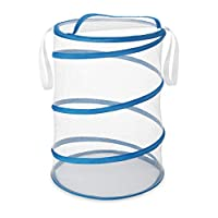 Whitmor 6155-699 18 Inch Collapsible Hamper, White With Blue Trim