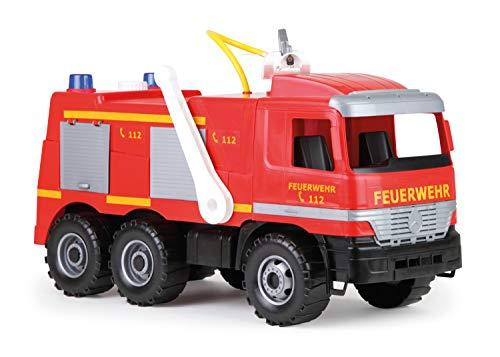 Lena 20101 - Starke Riesen Feuerwehr Mercedes Benz Actros, ca. 65 cm, großes Feuerwehrauto mit 3 Achsen, 1,5 Liter Wassertank, Wasserkanone bis 8 Meter, robustes Spielfahrzeug für Kinder ab 3 Jahre