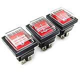 Her Kindness 3Pcs x Interruptor Basculante 4 Pin luz Roja On/Off DPDT 16A 250V /20A125V AC con Funda...