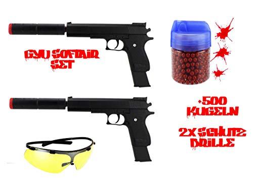 GYD Softair ES Set - 2X Brille 2X Waffe mit Slicer 500er Farbkugel im Mega Set (Paintball-gewehr-gewehr)