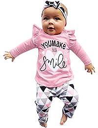JYC Conjunto de Ropa para Niñas,Conjuntos para Bebes,Infantil Chicas Carta Impresión Tops+Geométrico Pantalones+Banda para el Cabello Conjunto