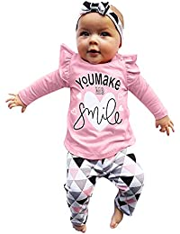 LANSKIRT Ropa para Recién Nacido Infantil bebé niñas Conjunto de Ropa de Trajes De Manga Larga Volantes Letras Impresas Tops + Pantalones + Banda de Pelo Invierno 3PCS