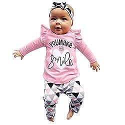 LEXUPE Neugeborenen Kleinkind Baby Mädchen Brief drucken Tops geometrische Hosen Outfits Set(Rosa,80)