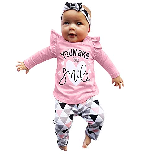 DAY8 Vêtement Bébé Fille Hiver Ensemble Bébé Fille Naissance 0-24 Mois Pyjama Bébé Fille Manche Longue Manteau Chemise Haut Top Sweat T Shirt Blouse + Pantalon + Bandeau (60(0-3 Mois), Rose)
