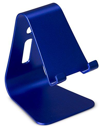 tec+ Universal Aluminium Smartphone Stand Ständer Handyhalterung für Schreibtisch, Nachttisch usw. Kompatibel mit Android und Apple Geräten (bis 11mm Tiefe) - Blau