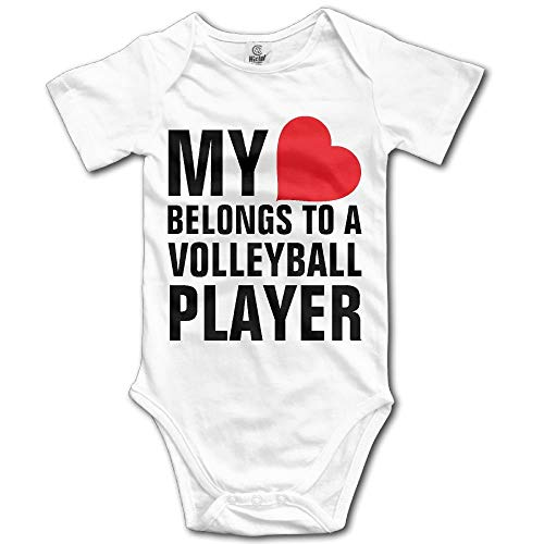 TKMSH My Heart Belongs to A Volleyball Player Boy's & Girl's Short Sleeve Jumpsuit Outfits White