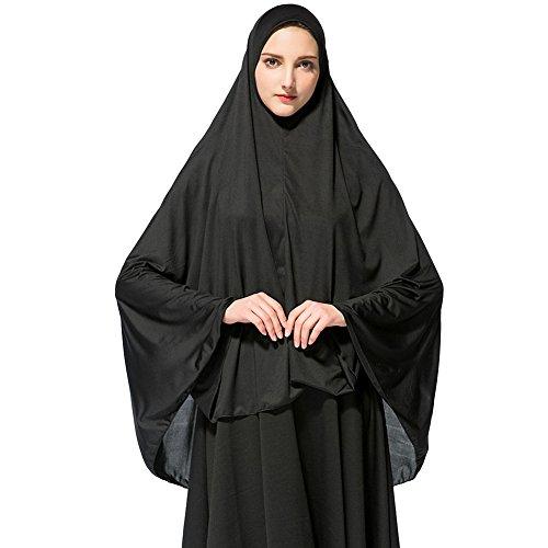 Hougood Hougood Hijab Maxi Schal Lange Kopftuch Damen Muslimische Feste Schals Chadors Arabien Islamische Gebet Kleid Abdeckung Muslimische Kleidung Frauen Muslim Bat's-Flügelhülsen Kleid Hijab