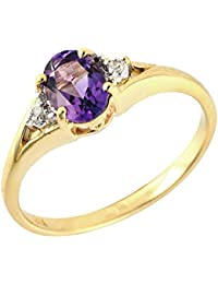 Ivy Gems 9ct Yellow Gold Oval Amethyst and Diamond Ring