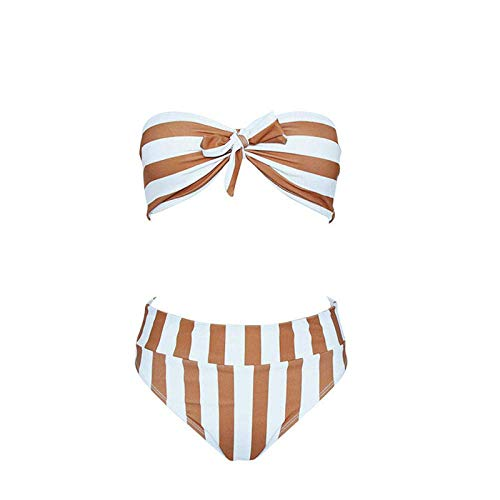 Cxmm Frauen 'S Orange Streifen Fliege Hohe Taille Tube Top Sexy Bademode Europa Amerika Dreieck Bikini Urlaub Freizeit Spa -