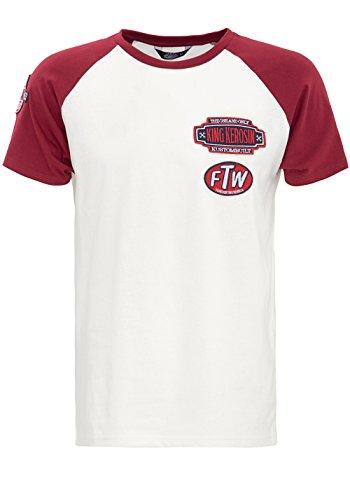King Kerosin Raglan Shirt mit Patches Herren Rundhals Kurzarm T-Shirt Klassisch Unifarben mit Farbeinsätzen abgesteppte Kante (Tone-raglan-t-shirt)