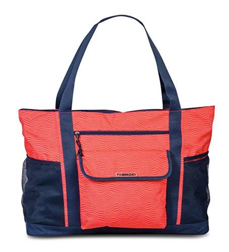 Fabrizio-XL-Strandtasche Saunatasche Shopper- XXL extragross (Rot) - Innen Tasche Mit Reißverschluss