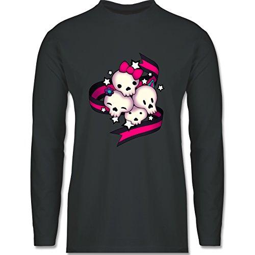 Statement Shirts - Cute Skulls - Longsleeve / langärmeliges T-Shirt für Herren Anthrazit