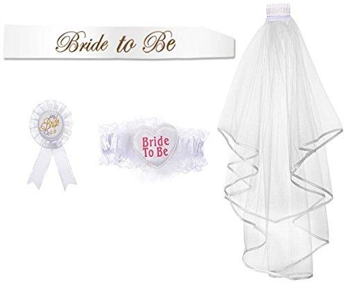 Velo de Novia + Bride to be Insignia Liga Bandade Bride to be Velo con Peine y Otros Materiales de...