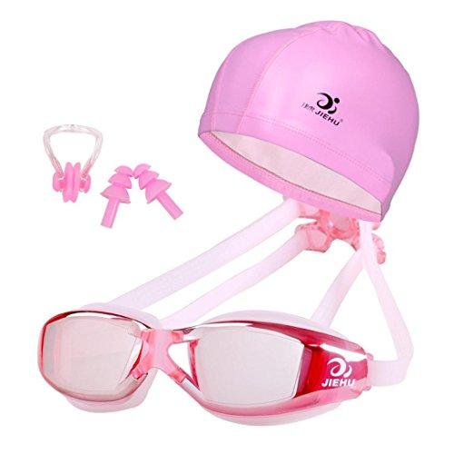 Coolster Schwimmen Gläser und Hut Ausrüstung Set Ohrstöpsel Nase wasserdicht Anti-Fog für Erwachsene (E) -