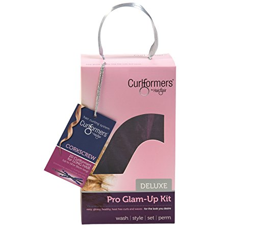 Curlformers Deluxe Glam-Up - Lockenstyling-Set für Korkenzieherlocken - für mittellanges Haar bis zu einer Länge von 35 cm - ohne Hitze - mit 20 Lockenwicklern und 1 Stylinghaken