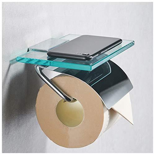 Toilettenpapierhalter mit Ablage aus Edelstahl - Verchromt - Edles Design - Klopapierhalter mit Glasablage für Smartphone, Deko und Feuchttücher - Zur Wandmontage