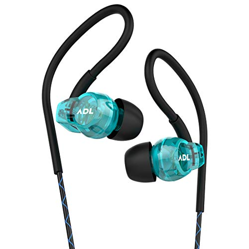 ADL Music Escape S400 Wired Earphones with Mic/Noise Isolating/Sporty/Ear Hook Wired Stereo Bass Earphones (Blue)