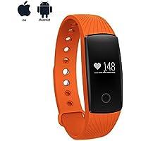Pulsera Inteligente con Pulsómetro,Monitor de Actividad,Pulso Cardíaco Fitness Tracker con Perseguidor de la aptitud ,Monitor de Calorías y Sueño,Alarmas Silenciosas,Contador de Calorías,Monitor Cardio para iOS y android teléfono