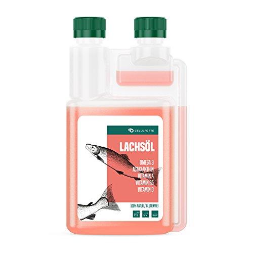 celluforte Omega-3 Lachsöl für Hunde, Katzen und Pferde, Naturprodukt 100% Rein, Ideal für Barf zur Täglichen Ergänzung Zum Futter, kaltgepresst, 1L Dosierflasche (ehemals purmedica)