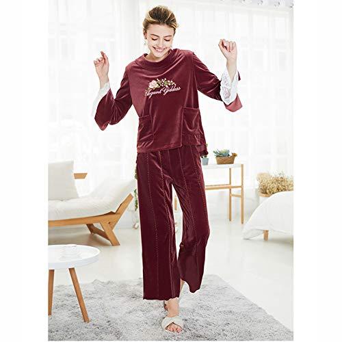Gold Velvet Pajamas Herbst Und Winter Ladies Langärmelige Zweiteilige Suit Home Service Fashion Comfortable Bathrobe,Red,L