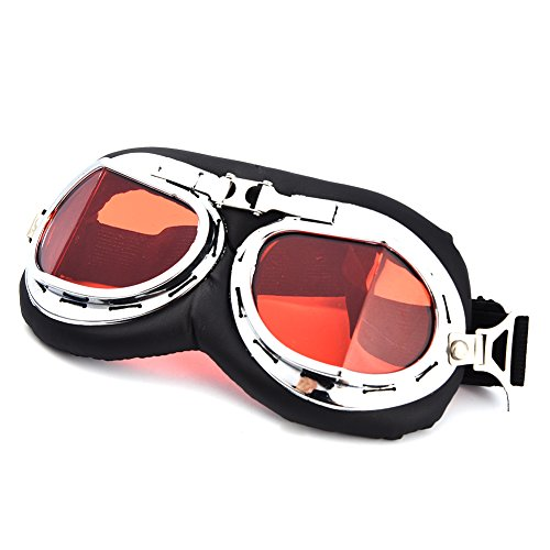 Flieger Kostüm Raf (Vintage Motorrad Goggles Aviator Pilot Motorrad Brille Motocross Pilot Scooter Hälfte)