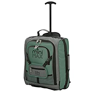 MiniMAX Childrens/Kids Luggage Carry On Trolley Suitcase with Backpack and Pouch for Your Favourite Doll/Action Figure/Bear (Green)