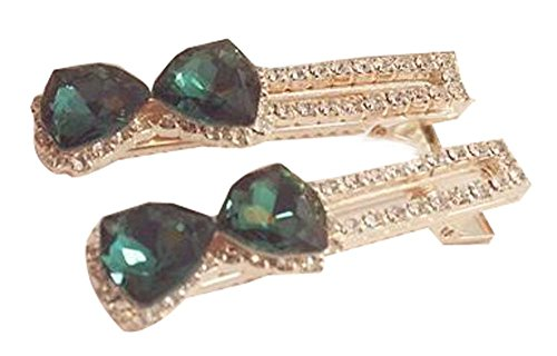 Petit Bow cristal Wafer Side Clamp Chapeaux Accessoires cheveux verts