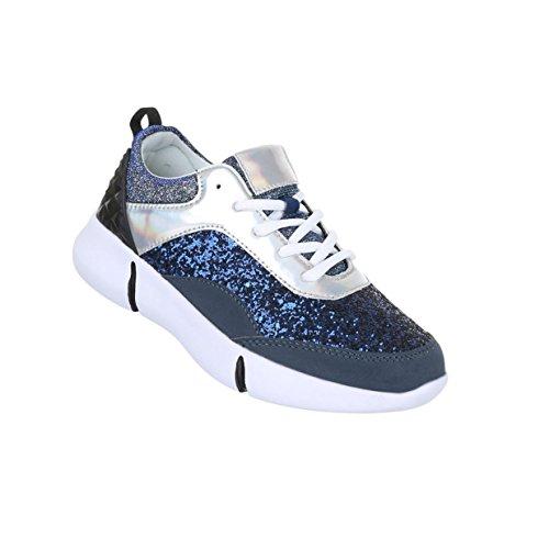 Damen Schuhe Freizeitschuhe Glitter Sneakers Blau