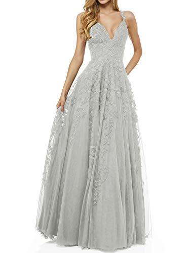 LuckyShe Damen Sexy V-Ausschnitt Abendkleider Ballkleid Elegant für Hochzeit Lang 2018 Silber Größe 40