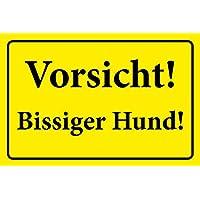 """PVC Aufkleber  /""""Achtung Freilaufender Hund/"""",gelb Hinweisschild 300x200 mm"""