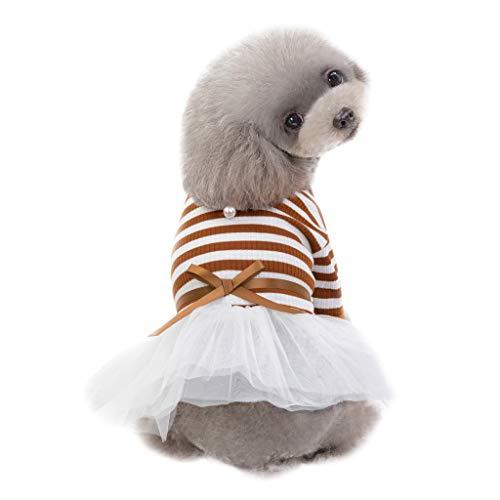 Hawkimin mops Bekleidung Kleine Hundekleid Haustier Hund Bowknot Streifen Patchworl Kleid Hund Katze niedlichen Frühling ()