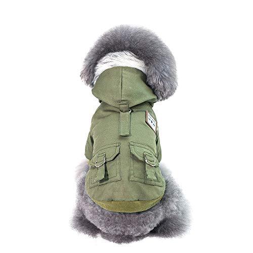 ShuoBeiter Haustier Kleidung Welpen Baumwolle Mantel Jacke Hunde Kleidung Herbst Winter warme Kleidung Hund Katze Bekleidung Dogs Clothes (M, Grün) -