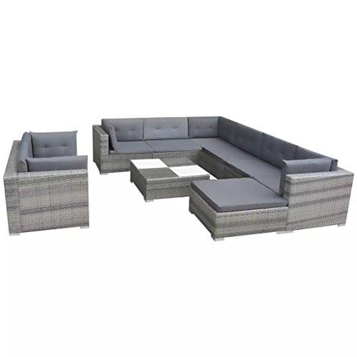 mewmewcat Garten Lounge Set 32-teilig Loungemöbel Loungeset Loungegruppe Polyrattan Grau