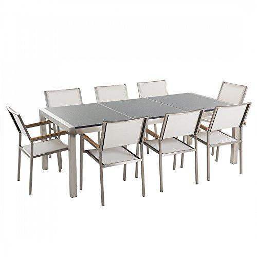 Gartenmöbel - Granitgartentisch 220 cm grau poliert mit 8 weissen Stühlen - GROSSETO