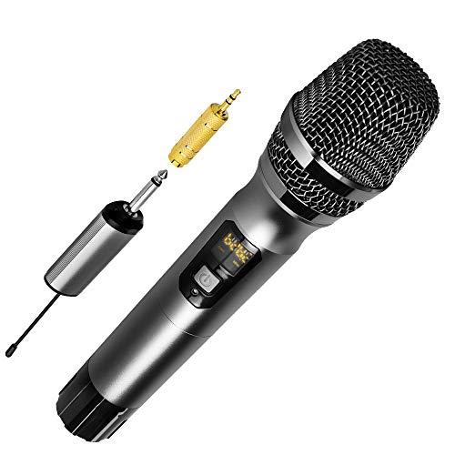 Dynamisches Drahtloses Handmikrofon Ankuka, 25-Kanal-UHF-Kabelloses Dynamisches Mikrofon Funkmikrofonsystem mit tragbarem Empfänger, 6,5 mm Ausgang für Hauspartys, Karaoke-Gesangsmaschine