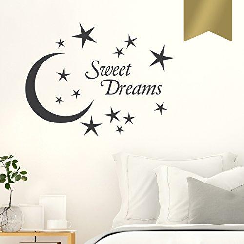 WANDKINGS Wandtattoo - Sweet Dreams mit Sternen und Mond - 40 x 30 cm - Gold - Wähle aus 5 Größen & 35 Farben