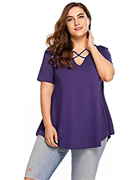 Meaneor Mujeres Talla Grande Casual Cruz Tachonado Cuello Corto Camiseta Sólida T-Shirt