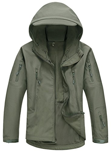 Kelmon uomo softshell cappuccio tattico giacca (large, army green)