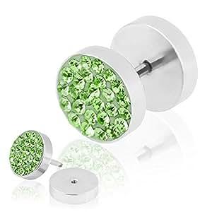 Taffstyle® Fake Plug Piercing Ohrstecker Multi Zirkonia Kristall - 12mm / Grün