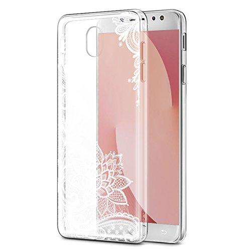 Eouine Coque Samsung Galaxy J7 2017, Etui en Silicone 3D Transparente avec Motif Peinture Antichoc Housse de Protection Case Cover Coque Telephone pour Samsung J72017-5,5 Pouces, Fleur Blanc