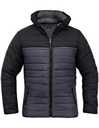 SoulStar Men's Padded Quilted Zip Up Puffer Jacket Hooded Winter Coat Size