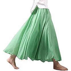 Hibote Falda Mujer Largas Suave Cómodo Falda de Lino Algodón Doble Capa Faldas Cintura Alta Maxi Falda 85cm 95cm