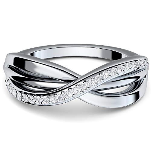 Infinity Ring Silber 925 von Amoonic mit 21 Zirkonia Steinen Ring-Unendlichkeit *Gratis Luxus-Etui Unendlichkeitszeichen Ring unendlich Unendlichkeits Ring Schmuck Damen FF586SS925ZIFA52