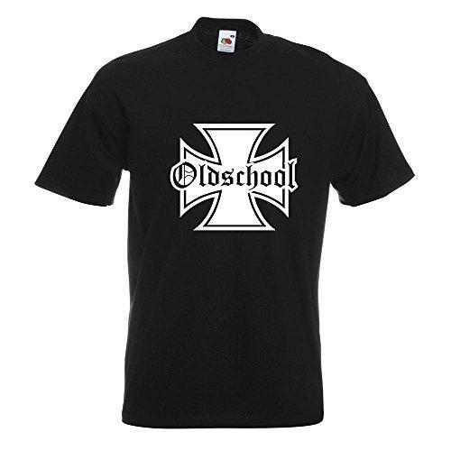 KIWISTAR - Oldschool Eisernes Kreuz T-Shirt in 15 verschiedenen Farben - Herren Funshirt bedruckt Design Sprüche Spruch Motive Oberteil Baumwolle Print Größe S M L XL XXL (Old-school-xl T-shirt)