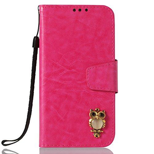 Lomogo Huawei [Mate 10 Pro] Hülle Leder, Schutzhülle Brieftasche mit Kartenfach Klappbar Magnetverschluss Stoßfest Kratzfest Handyhülle Case für Huawei Mate10 Pro - LOYBO38235 Rosa Rot
