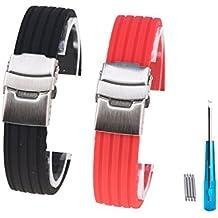 Randon silicone elastici in gomma morbida orologio cinturino con fibbia in acciaio INOX, confezione da 2, Black / Red
