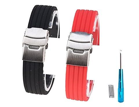 Randon Coque en silicone montre Bandes en caoutchouc souple Bracelet de montre avec fermoir en acier inoxydable, Lot de 2, noir/rouge