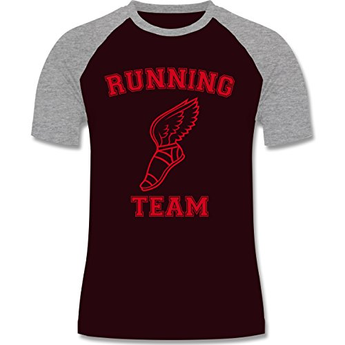 Laufsport - Running Team - zweifarbiges Baseballshirt für Männer Burgundrot/Grau meliert